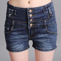 Korean Elastic Thin Plus Size Vintage High Waisted Denim Shorts , Single Breasted Straight Dark Blue Shorts Fashionable