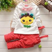 4pcs/lot wholesale long sleeve kids gril t-shirt dot pants 2pcs set cartoon set children clothes