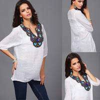 Women Blouses 2015 Casual Embroidery Blouse Plus Size Blusas Femininas Shirt Tropical Tops Cheap Clothes