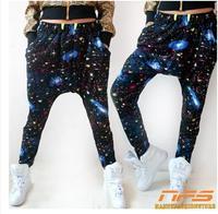 Big crotch pants collapse theatrical hip-hop pants, hip-hop star pants, tie-dyed sky harem pants