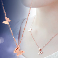 18K Rose Gold Plated Titanium Steel Frosted Butterfly Pendant Necklace Fashion Brand Jewelry for Women Free Shipping (GN001)