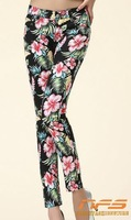 Printed stretch jeans, wild feet pencil pants, denim pencil pants wholesale printing drop shipping