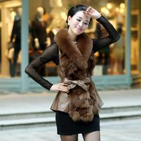 Fur vest outerwear medium-long female slim genuine fox fur leather 2015