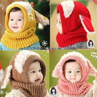 Free shipping wholesale 2015 winter new style dog snood Hat Siamese baby Hat wool winter Hat