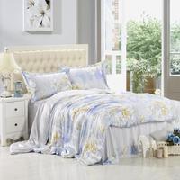 2015 wide sky blue flower garden sided 4pcs 100% mulberry silk bedding set Spring Bedding