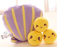 Gift for baby 1pc 35cm cartoon romance purple scallop shell pearl soybean plush doll cushion novelty creative boy stuffed toy