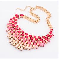 2015 New Arrival Zinc Alloy Women Chokers Necklaces Vintage Link Chain Acrylic Statement Collares Short Necklace 8 Colors