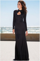 L065,Free shipping Fashion new PROM dress round collar dew backpack hip fishtail long dress