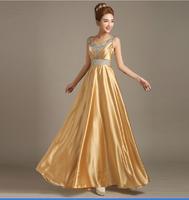 2015 new fashion double-shoulder long gold plus size evening dresses