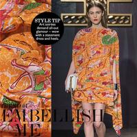 Free Shipping 2015 NEW  design printed 100 silk crepe de chine fabric