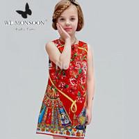 high end!2015 DESIGNER spring girls dress with print, European brand cotton red vest dress.KIDS TIME.