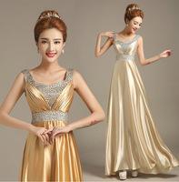 2015 new fashion Bride graduation dress double-shoulder long gold bridal prom dress plus size party dresses
