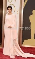 Nude Chiffon Asymmetrical   Celebrity Dresses 2015 Camila Alves The 86th Annual Oscars Red Carpet Dress Gowns Floor-Length