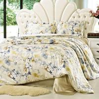 2015 new 100% mulberry silk flower garden sided bedding 4pcs