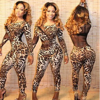 women long sleeve Rompers Womens Jumpsuit Sexy Mesh Leopard Print Bodycon Party Playsuit Rompers Overalls KF654 Plus Size S M L