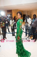 2015 New Arrival Red Carpet Miss Nigeria Mermaid Long Sleeves Green Lace Celebrity Inspired Dress Evening Prom Dresses Elegant