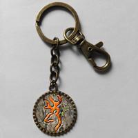 Wholesale 6$ Browning Deer Keyring Buckmark Buck Key Chain Hunting Bow Hunter Art Glass Pendant Cute Keychain Gift lot Fashion