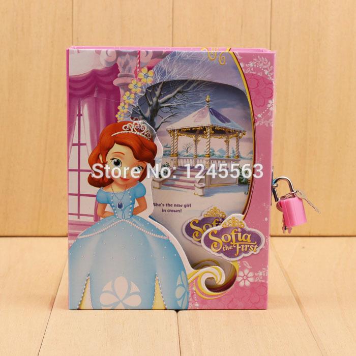 Retail Baby Girls Cartoon Daily Memos Notepad With Lock Children's Princess Sofia Hardcover Dairy Notebook(China (Mainland))