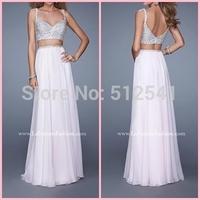 2015 Sexy Two Piece V-Neck Shining Beaded Floor Length Chiffon Prom Dresses Sexy Evening Dress vestido de festa longo LFM  21135