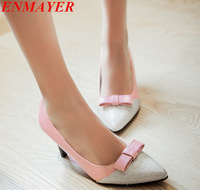 ENMAYER  women pumps Summer Slip-On Closed Toe Thin Heels Platform pumps Pointed Toe Spool Heels Platform pumps size 34-39