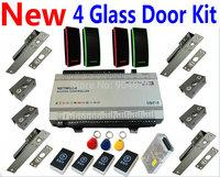 Glass Door Kit 2015 New 4 Door Access Controller Panel Box+4 pcs RFID EM Readers+4 pcs Electro Bolt Lock+4 pcs Exit Button+Power