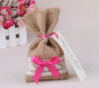 "Free Shipping! 96 pcs/lot 4"" * 6.5"" Burlap Bags with Drawstring wedding decoration favor bags, Thank You Rustic Candy Bags"