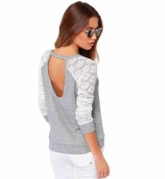 New Brand 2015 T-Shirt women casual Backless Long Sleeve Top Blouse Lady Sexy Embroidery Lace TShirt plus size Blusas Femininas