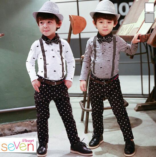 EMS DHL 100% Cotton Kids Baby Child Girl Boy Formal Perform Polka Dot Print Shirt + Overall Pant Gentleman Outfit Set S0140042(China (Mainland))