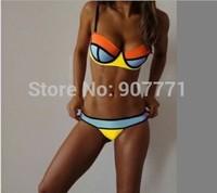 2015 New 100% Real Neoprene Triangle Swimsuit Sexy Women Patchwork Color Swimwear Push-up Padded Bra Bathing Suit Bikini Sets