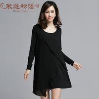 Milian Story XL 2015 spring new women's round neck long-sleeved chiffon fat MM stitching cotton dress