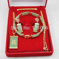 Lucky green jade bracelet Necklace pendant earring