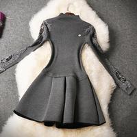 Women dress 2015 new winter suit small fragrant wind knitted elastic waist dress Slim Lady retro dresses