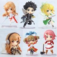 "Sword Art Online Fairy Dance Kirito Asuna Lefa PVC Action Figures Toys 6pcs/set 2.5"" 6CM"