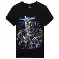 2015 High Quality skull  Printed 3D T-shirts Punk 3D Short Sleeve T-Shirt M-3XL /6 style cycling Men's T-Shirts