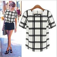2015 new fashion women summer shirt short sleeve chiffon casual blouse blusa camisa feminina feminino plaid o-neck blusas