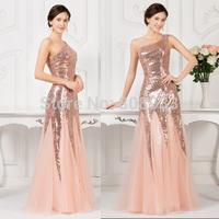 Long Evening Dress 2015 Formal Dresses One Shoulder Sequins Women Wedding Party Dress Floor Length Mermaid Prom Dresses CL7511