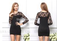 Women dress 2015 new fashion summer  strechable cotton Splicing Lace casual dress Mini Dress Mulheres Vestidos