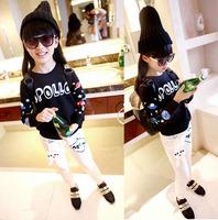 wholesale(5pcs/lot)-spring autumn letter cartoon black sweatshirt for L5001 child girl boy