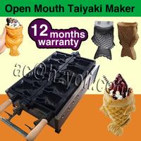 LPG Gas waffle machine/ cake maker/ Japanses fish 5 mould taiyaki making machine for sale , 12 months guarantee