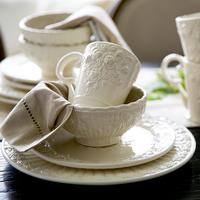 2015 Royal Vintage Fashion Emboss Rose Ceramic Porcelain Dish Cup Mug Bowl Plates 4-Piece China Crockery Tableware Set