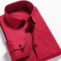 2015 Brand New Fashion Men Slim Fit Solid Shirts Mens Casual Dress Shirt Men's Long Sleeve Masculina Camisa Plus Size