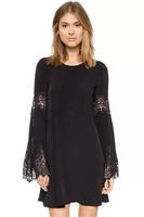 Desigual Women Chiffon Short Shirt Dress 2015 New Summer Fashion European Brand Street Black Long Sleeve Loose Shift Dress 21839