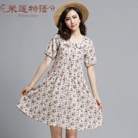 white dress party women dresses  2015 summer floral vintage dress plus size clothing  knee length woman dress vestidos