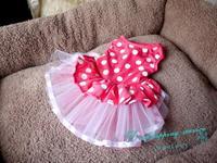 Princess Dress Pet Skirt Dots Flower Decoration Wedding Dress Pet Skirt Pet Supplies Dog Dresses Free Shipping