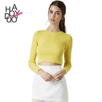 Slim all-match rib knitting sweater fashion brief short tight fitting design basic shirt sweater haoduoyi