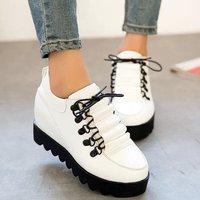 2015 women's spring shoes elevator low-top platform shoes platform lacing shoes student leather