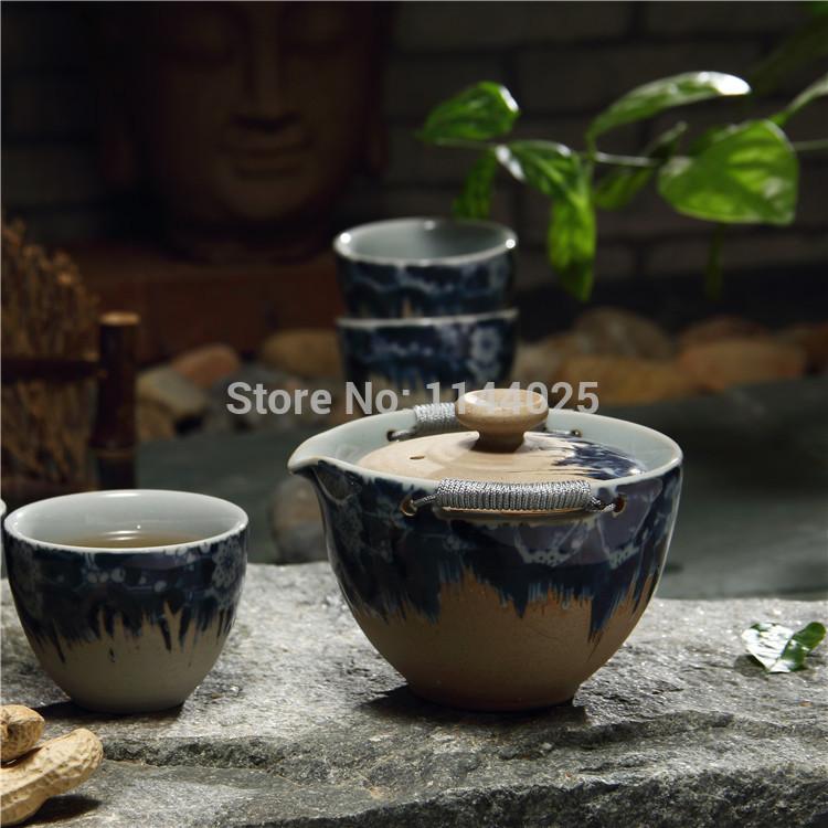 High quality Hand made Ceramic kung fu tea set travel tea set Crackle Glaze coarse pottery