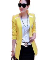 Free Shipping Professional women's 2015 medium-long blazers,women's plus size slim  Bright blazer outerwear