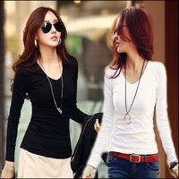 2015 Korean Style Autumn New Women Fashion White Blouses Plus Size Slim Long Sleeve Women Tshirts Solid V-neck Cotton Tops Shirt