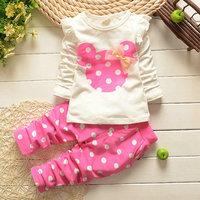 4set/lot wholesale ruffles long sleeve kids gril t-shirt pants clothes 2pcs set bow minnie set children clothes
